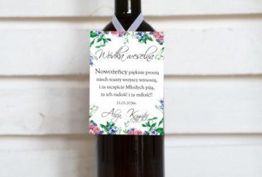 elegancka zawieszka na wino weselne